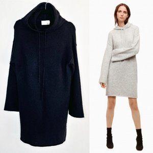 Aritzia Wilfred Free Black Sissi Hooded Alpaca Sweater Dress S